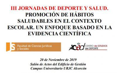 David González-Cutre ponente las III Jornadas de Deporte y Salud de la Universidad Rey Juan Carlos
